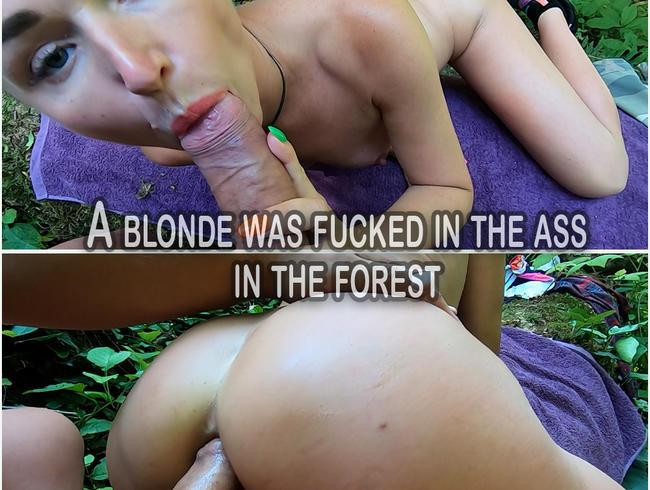 Sexy blonde Deepthroat und Analsex im Wald - Sperma in den Mund